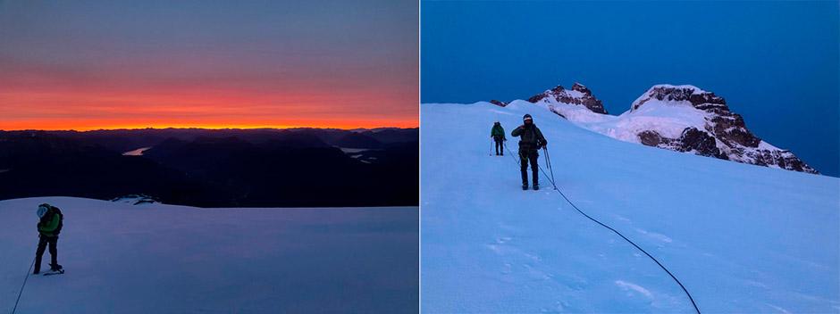 Amanecer en el Cerro Tronador, Patagonia.