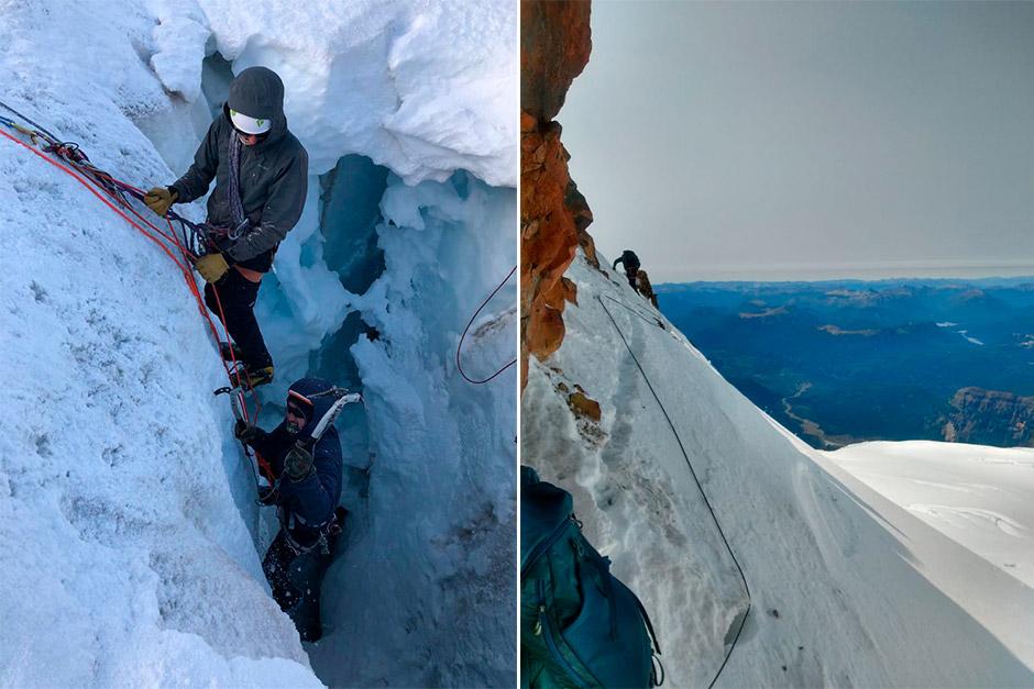 Sebastián Fain Castro y Maximiliano Vaccari escalado en hielo en el Cerro Tronador.
