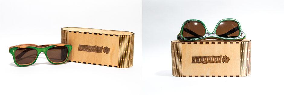 Excelente presentación de los anteojos en sus cajas protectoras de madera.