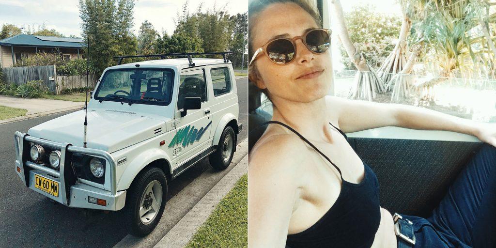 En Australia tener un automóvil es accesible y que mejor que una camioneta Susuki Vitara para cargar las tablas.