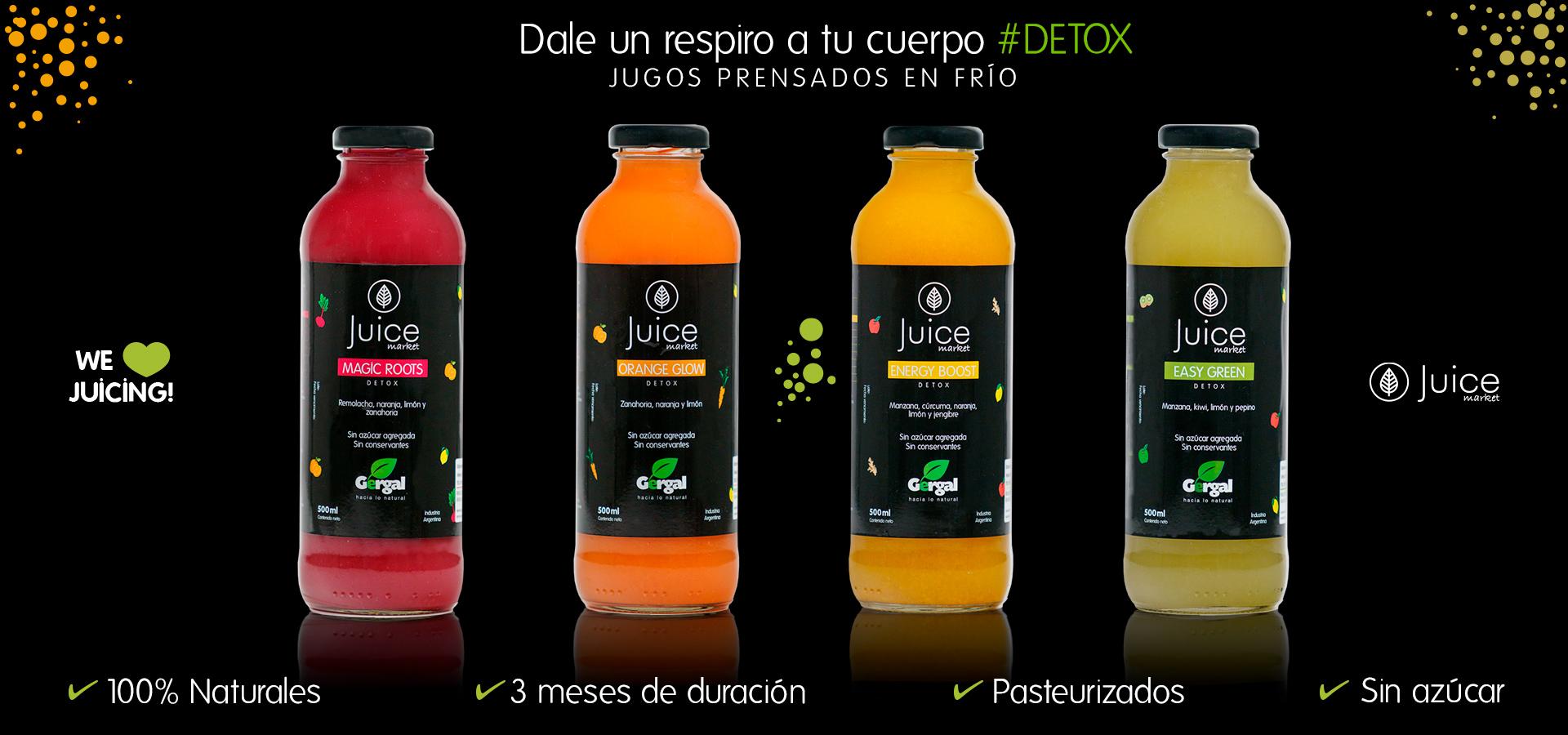 Diseño de imagen de marca y fotografía para Juice Market.